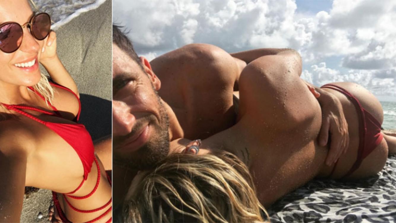 Las vacaciones súper apasionadas de Noelia Marzol con su nuevo novio en Miami: mimos hot en la arena y surf aventurero...