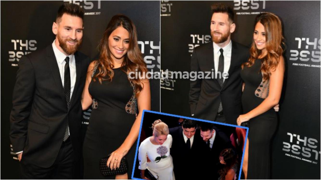 Antonella Roccuzzo lució su pancita de la mano de Lionel Messi en los Premios The Best. Foto: AFP