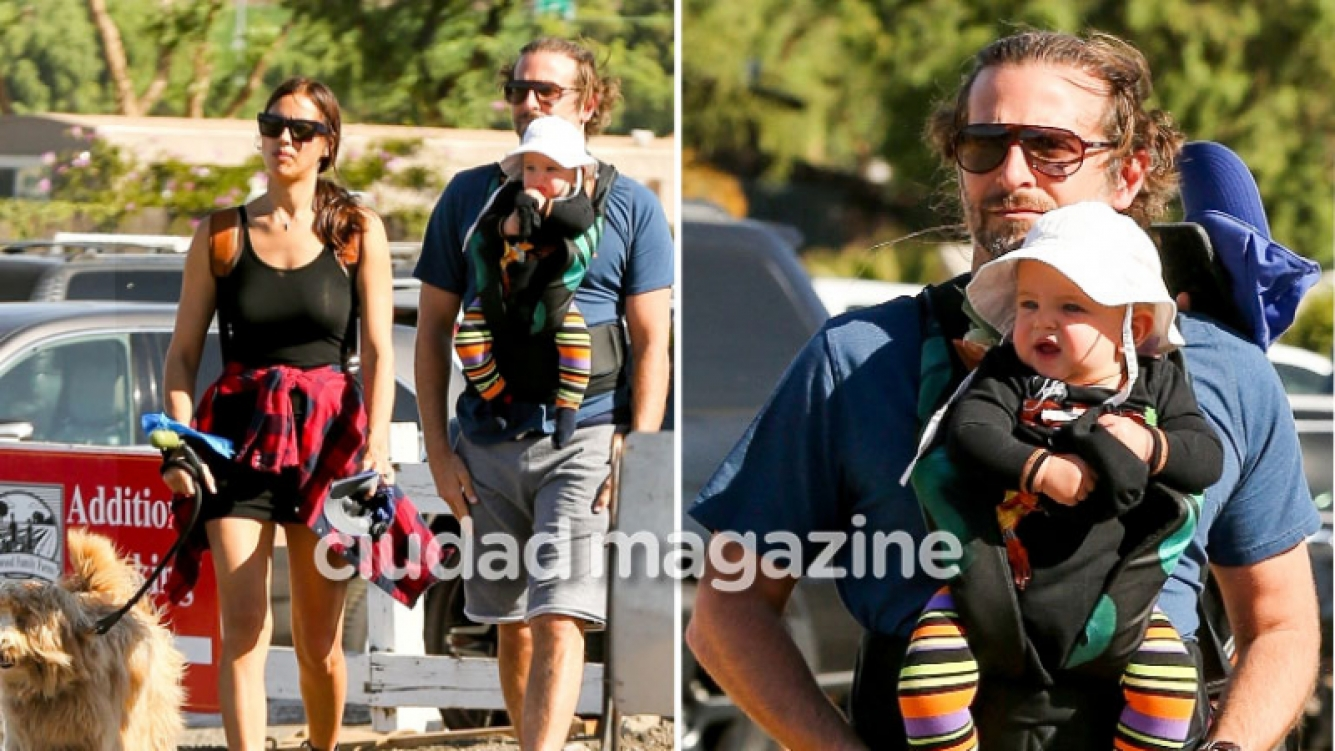 ¡Galán todoterreno! Bradley Cooper, papá canguro en un paseo familiar junto Irina Shayk y su perro