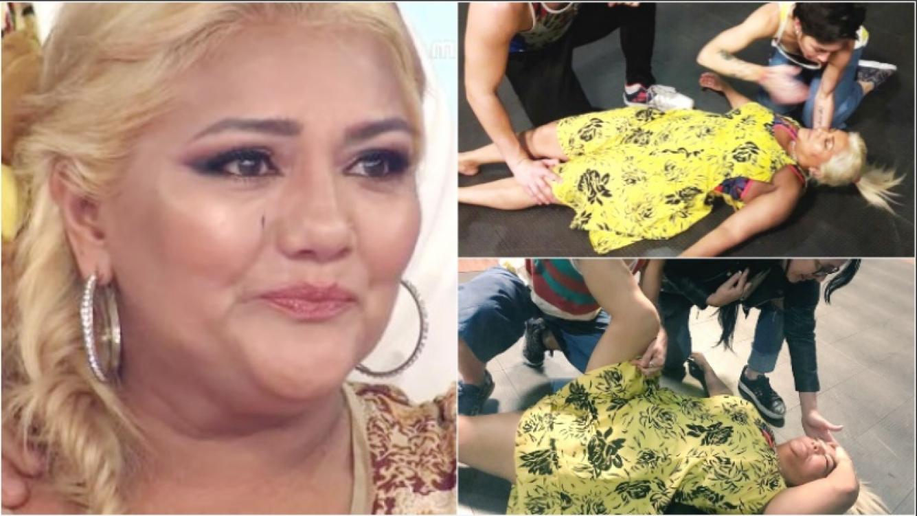 El desmayo de Gladys La Bomba Tucumana en pleno ensayo para el Bailando (Fotos: Web y Twitter)