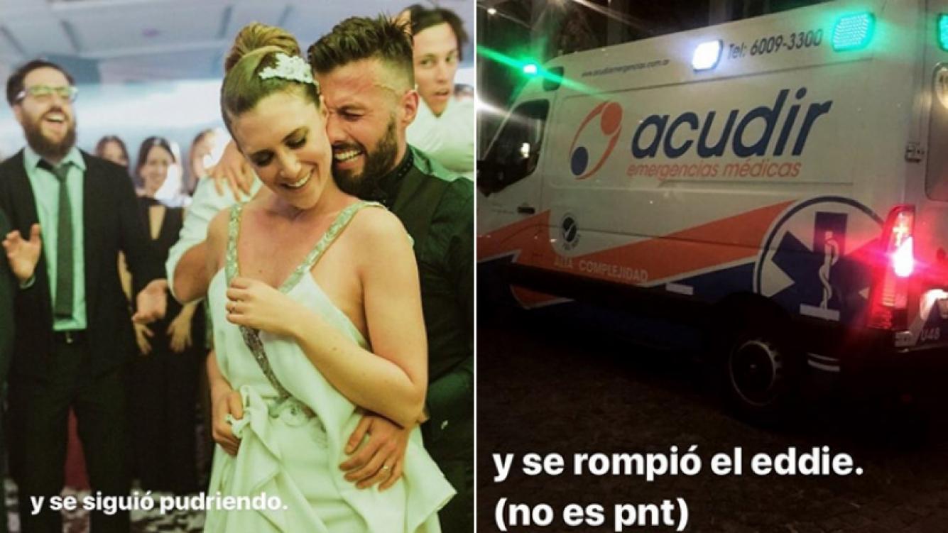 Eddie Fitte y el accidente que sufrió en plena boda. (Fotos: Instagram Stories)