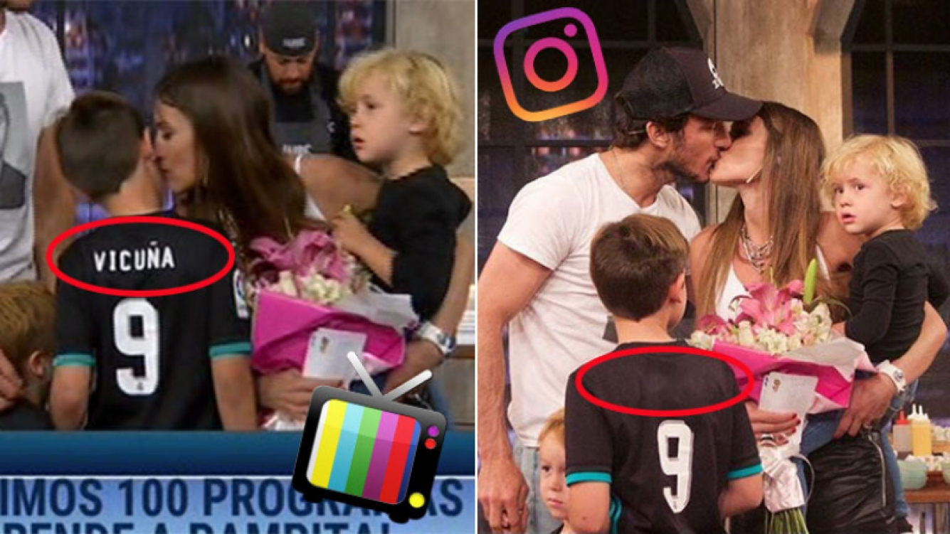 Pampita compartió fotos de la visita de sus hijos con Pico Mónaco a su programa… ¡pero borraron el apellido Vicuña de la camiseta de Bautista!