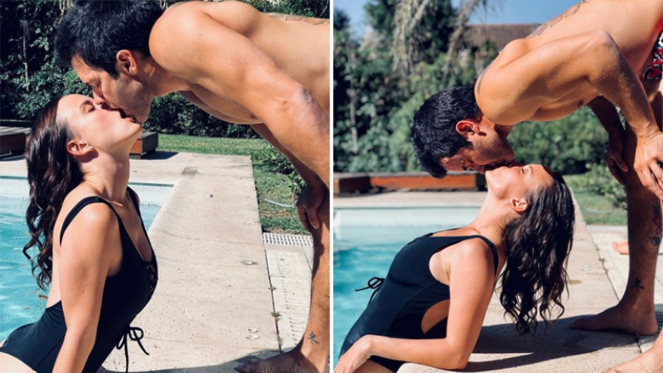 Camila Cavallo y Mariano Martínez, a puro romance en una pileta. (Foto: Instagram)