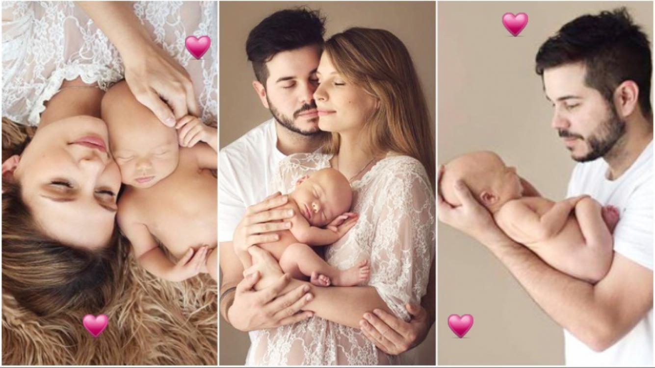 La tierna producción de fotos de Nicolás Magaldi y Betiana Wolenberg con su hijo de 1 mes: Juntos a la par