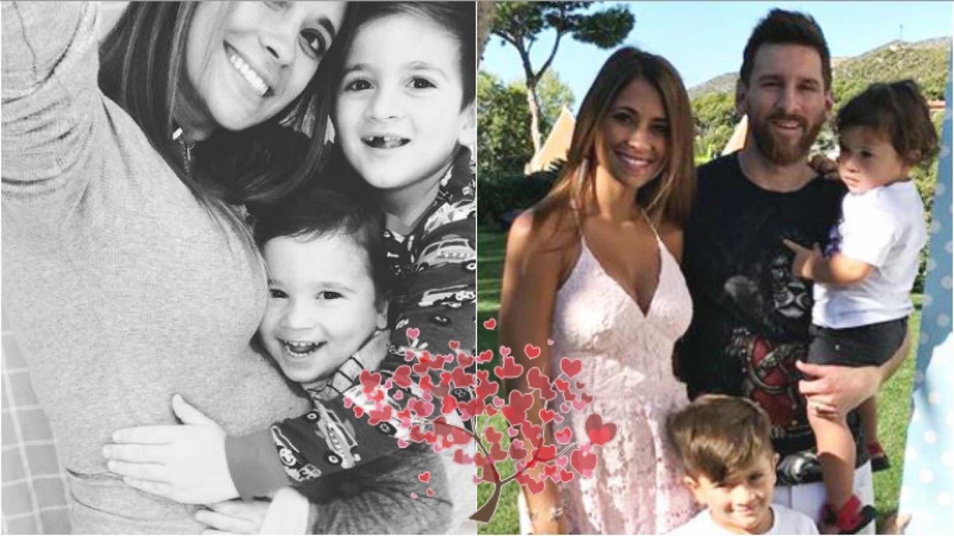 La selfie súper tierna de Antonela Roccuzzo, embarazada y con sus hijos abrazados a su pancita: Amor, amor, amor