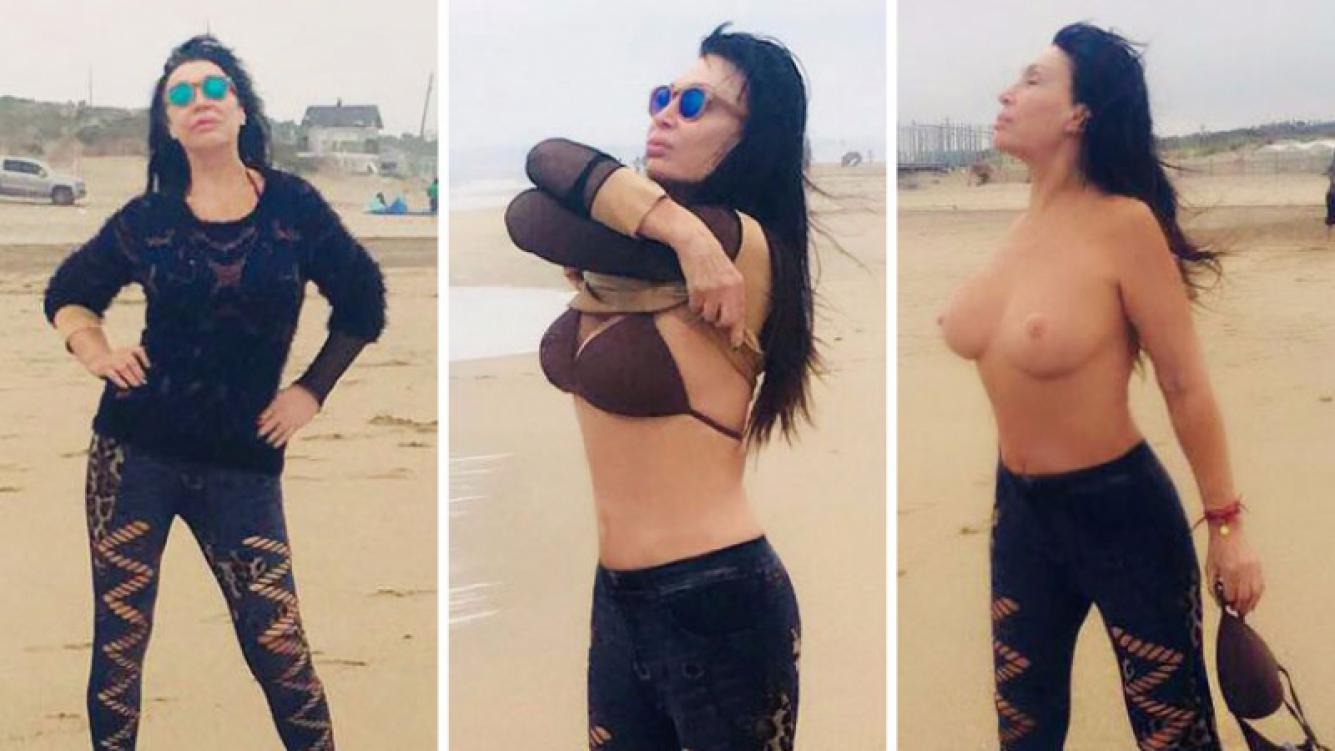 Moria Casán y su topless playero en Mar del Plata. Foto: Twitter