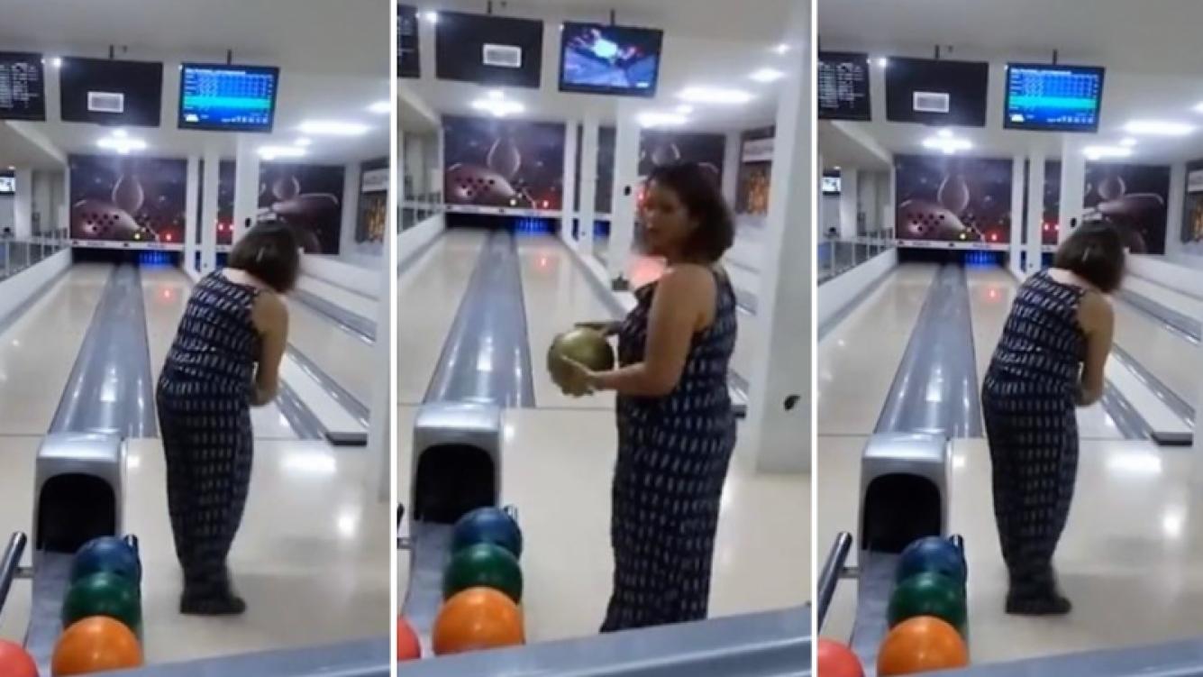 Las habilidades en el bowling de esta mujer le jugaron una mala pasada
