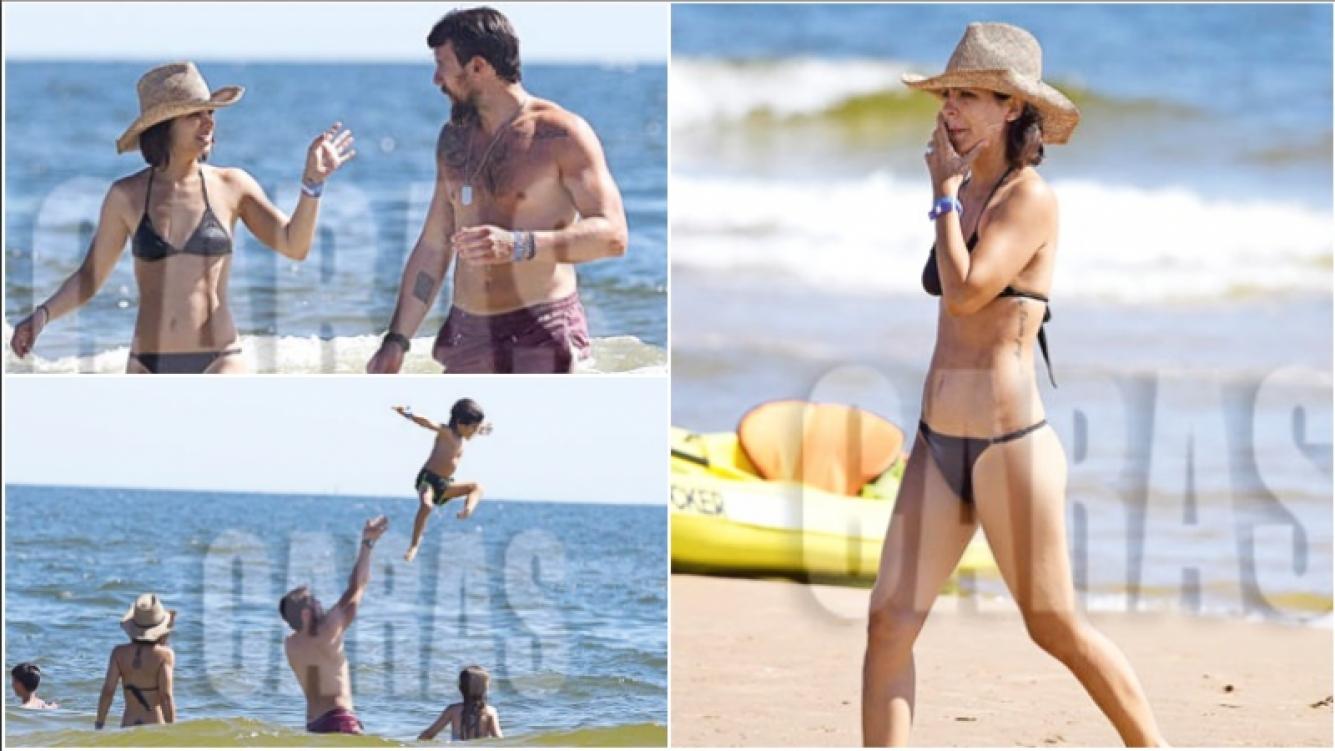 Las vacaciones de Agustina Cherri con sus hijos y su pareja en Solanas (Fotos: revista Caras)