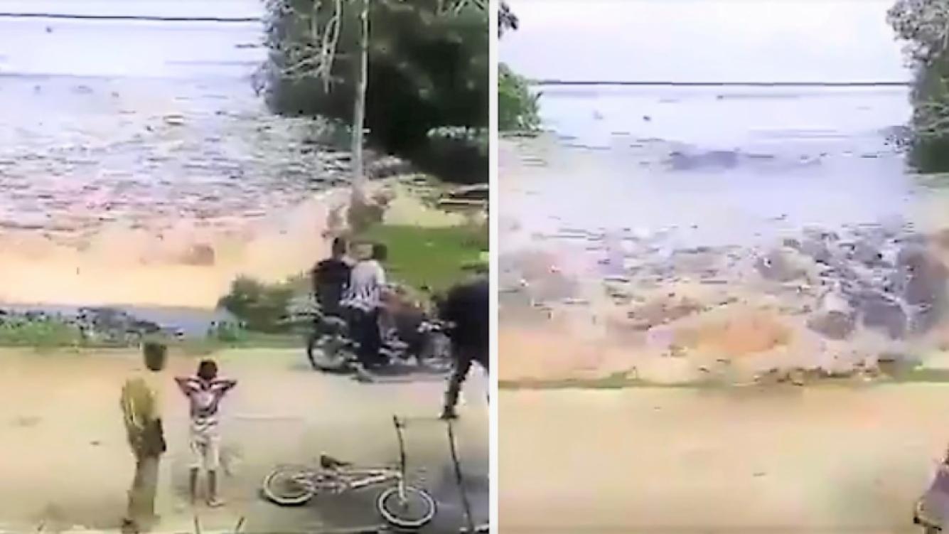 Video captó la llegada de un mini tsumani a la India