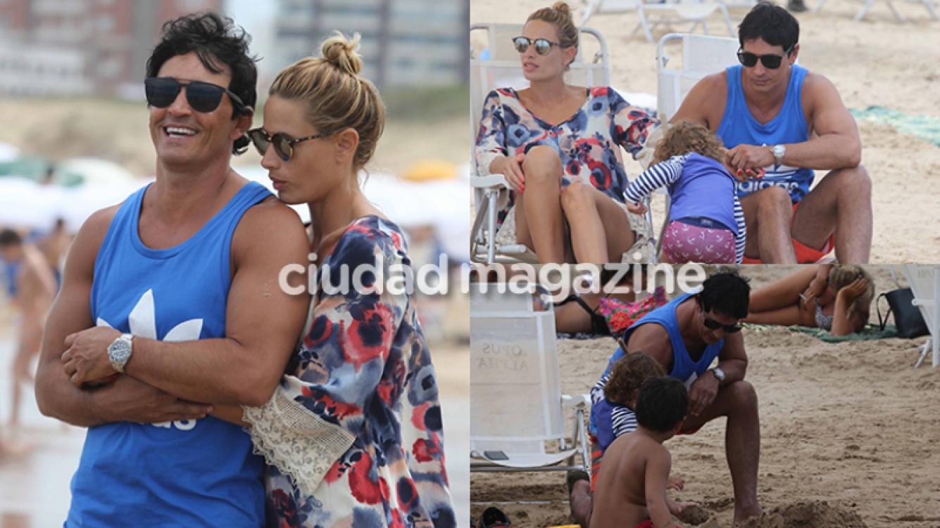 Sebastián Estevanez e Ivana Saccani, enamorados junto a sus hijos (Fotos: GM Press Punta).