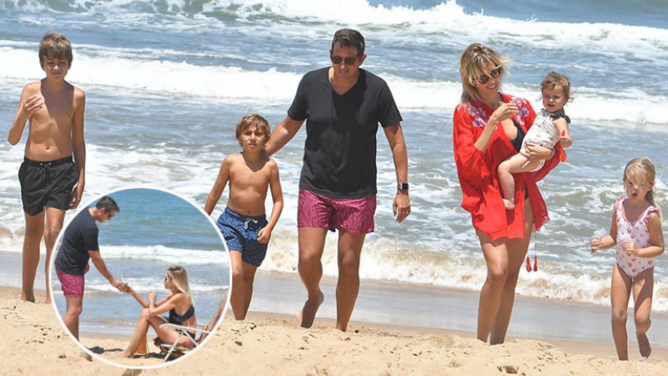 Juan Pablo Varsky y Lala Bruzoni se fueron a Punta con sus respectivos hijos. (Fotos: revista Pronto)