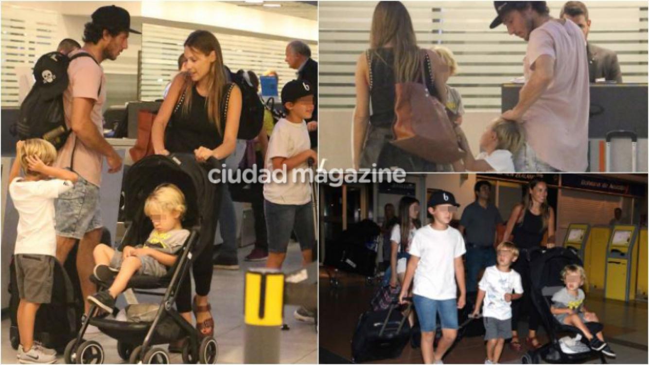 Pico Mónaco y Pampita con sus hijos viajaron a Orlando: sus fotos en Ezeiza