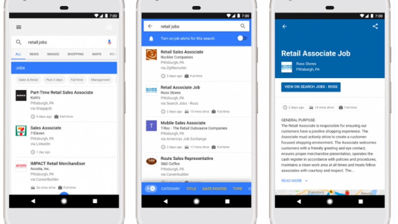 Ya está disponible la sección de empleos en el buscador de Google