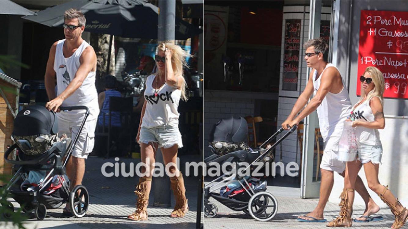 Las fotos de Flor Peña y su pareja, de paseo con su hijo Felipe: tarde de sol, look sexy... ¡y helado!
