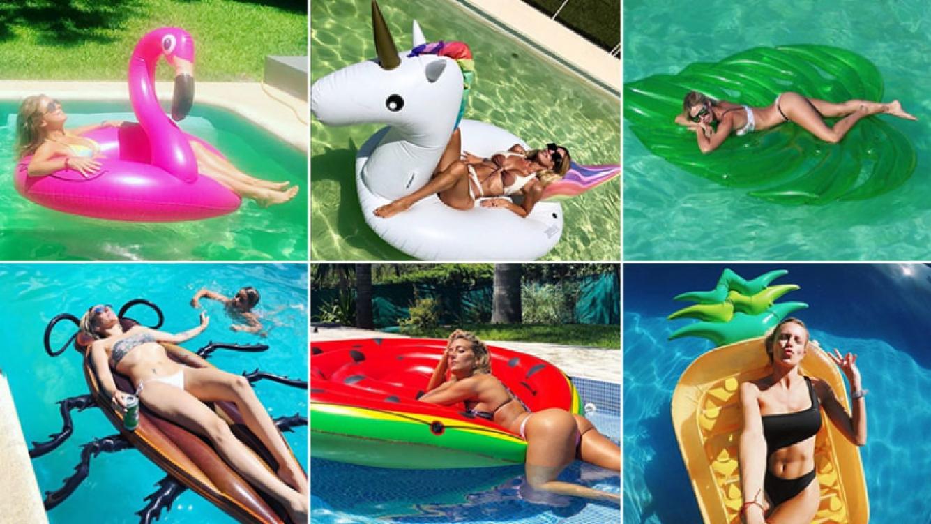 ¡El chiche del verano! Las diosas argentinas lucen sus lomazos en la pileta con los inflables más divertidos