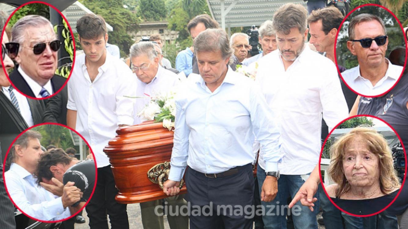 Quique Sacco (última pareja de Débora), Agustín Funes (su primogénito) y Marcelo Funes (padre de sus dos hijos), llevaron el cajón hasta su última morada. (Fotos: Movilpress)