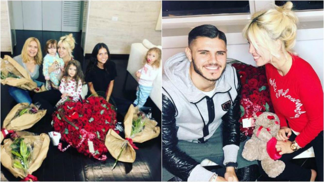 La reacción de Wanda Nara al súper ramo con forma de corazón de Mauro Icardi… ¡y las flores para las mujeres de...