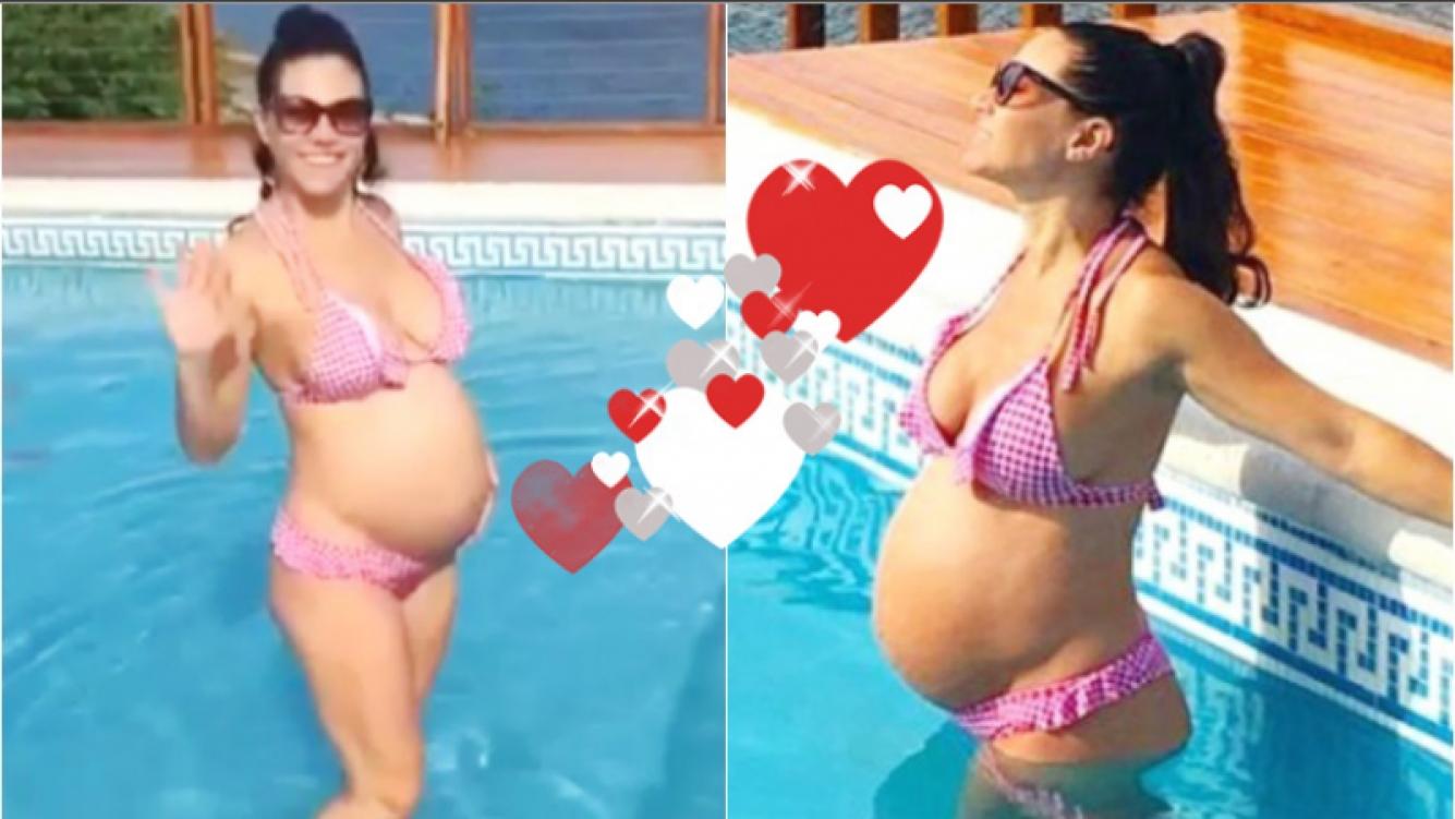 El día de pileta de Adabel Guerrero, embarazada de 32 semanas (Fotos: Instagram y Captura de video de Instagram)