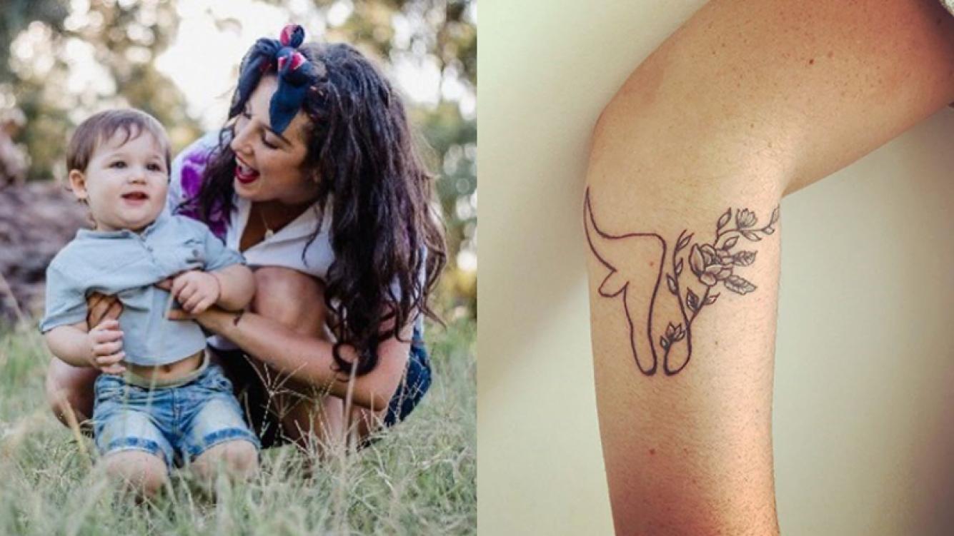 Juana Repetto eligió un tatuaje en honor al nombre de su hijo Toribio.