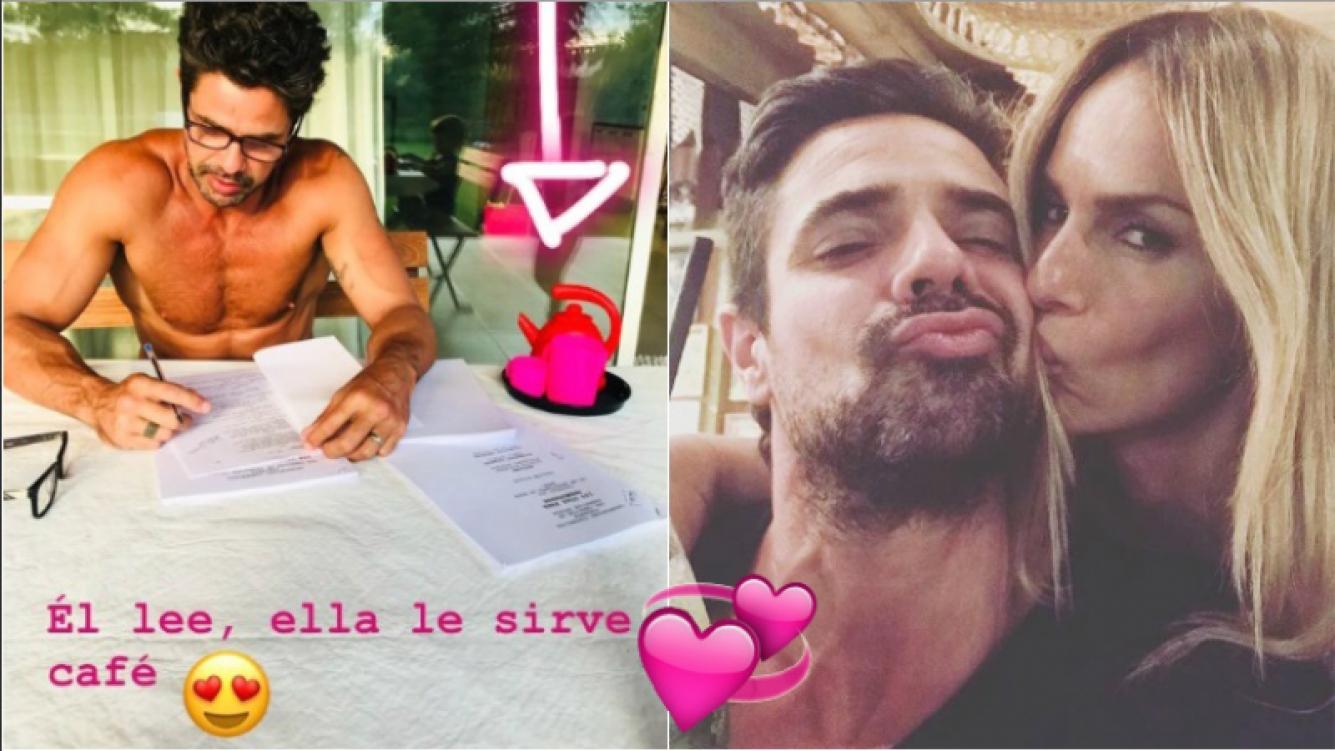 La foto sexy y de entrecasa de Luciano Castro que publicó Sabrina Rojas (Fotos: Captura de Instagram Stories e Instagram)