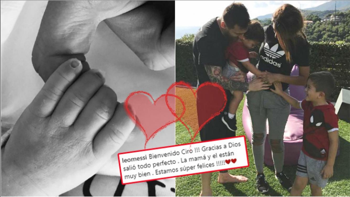 Messi compartió la primera foto de Ciro, su tercer hijo junto a Antonela Roccuzzo (Fotos: Instagram)