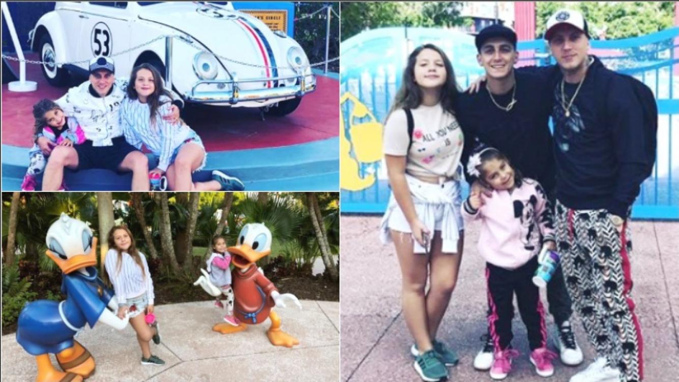 Las vacaciones familiares de El Polaco con sus hijas en Disney (Fotos: Instagram y Captura de Instagram Stories)