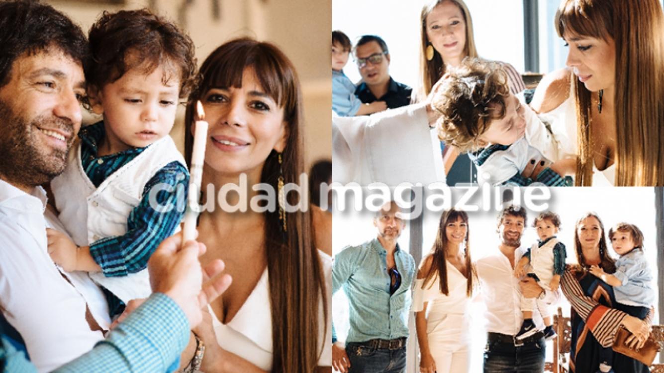 Gustavo Conti y Ximena Capristo bautizaron al pequeño Félix (Fotos: Álbum personal).