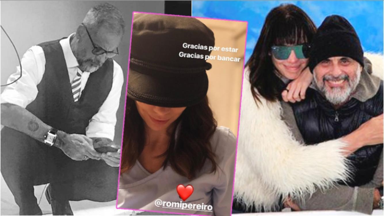 El romántico mensaje de Jorge Rial a Romina Pereiro tras el escándalo (Fotos: Instagram y Captura de Instagram Stories)