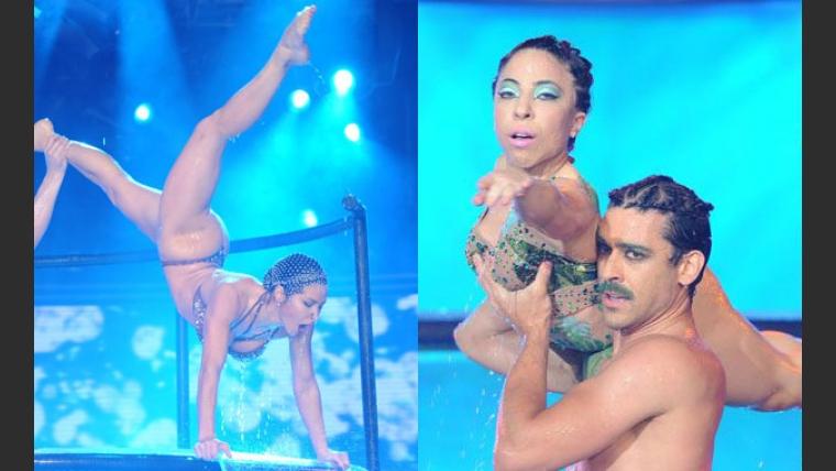 Adabel Guerrero, Hernán Piquín y Noelia Pompa fueron ovacionados en el duelo de Aquadance