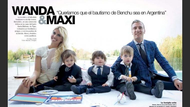 Wanda Nara, Maxi López y sus tres hijos. (Foto: revista Caras)