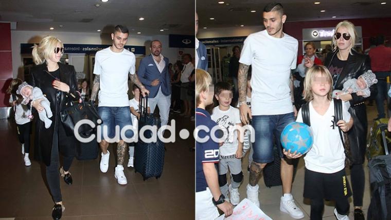 Wanda Nara y Mauro Icardi llegaron al país con sus hijos (Foto: Movilpress)