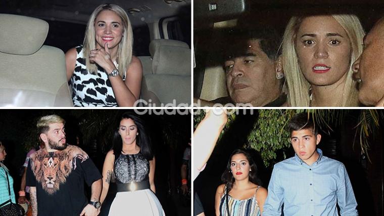 Rocío Oliva, Diego Maradona, Diego Junior, Nunzia Pennino, Jana Maradona y Gabriel Pagani festejaron Navidad en Familia. (Foto: Movilpress - Ciudad.com)