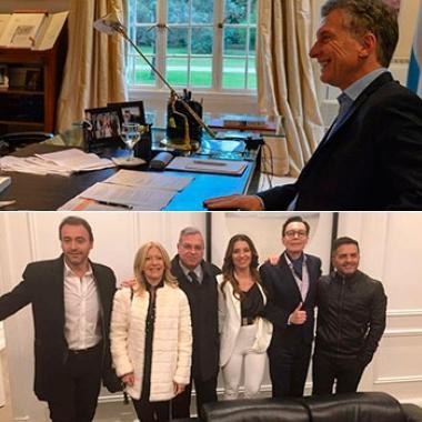 Macri y periodistas de espectáculos.