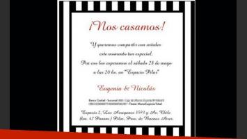 La invitación al casamiento de Nicolás Cabré y María Eugenia Tobal. (Foto: Web).