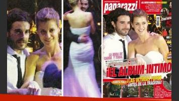 Eugenia Tobal y Nicolás Cabre, en su boda. (Fotos: revista Paparazzi).