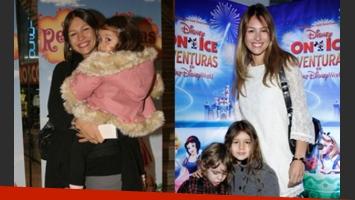 Antes: Pampita junto a su hija en brazos. Ahora: Blanca ya es toda una niña.
