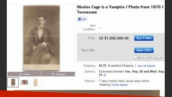 La imagen del vampiro Cage publicada en eBay.