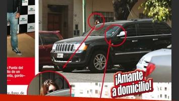 Zaira Nara se baja del auto de Pico Mónaco. (Foto: revista Paparazzi)
