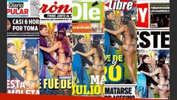 Las cinco portadas de ls diarios en las que aparecieron Julio Cécar Falcioni y Erika Galeano.