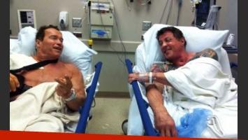 Arnold Schwarzenegger y Sylvester Stallone, juntos en el hospital. (Foto: WhoSay Arnold Schwarzenegger)