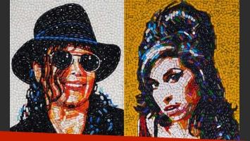 Los retratos a Michael Jackson y Amy Winehouse, de Jason Mecier.