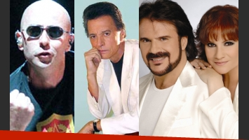 Indio Solari, Palito Ortega y Pimpinela, en el top 3 de los músicos más ricos de la Argentina. (Fotos: Web)
