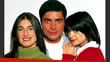 Araceli González y Chayanne, junto a Romina Yan, en la gráfica de Provócame, la ficción que salió al aire en 2001. (Foto: Web
