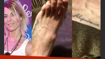 Eugenia Tobal y su nuevo tatuaje. (Fotos: Web y Twitter @eugtobaloficial)