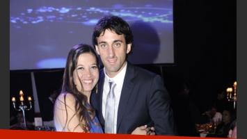 Diego Milito y su señora en el casamiento.