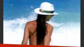 Contra el frío: el súper topless de Natalia Fassi. (Foto: Caras)