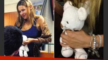 Pampita, con el osito de peluche favorito de su hija Blanca. (Fotos: diario Las Ultimas Noticias y @MariaLMayol).