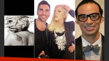 Izq: Lady Gaga, por Sebastián Faena. Centro: Rodrigo Otazu con Gaga. Der: Víctor de Souza, otro elegido por la Diva.