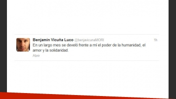 El tweet de agradecimiento de Benjamín Vicuña. (Captura: @benjavicunaMORI)