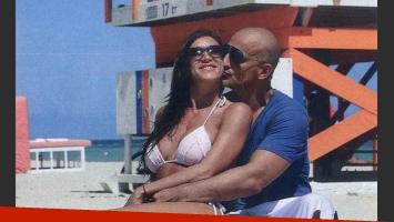 Valeria Archimó junto al empresario Guillermo Marin en las playas de Miami. (Foto: Revista Gente)